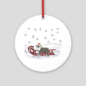 Sledding Boston Terrier Ornament (Round)