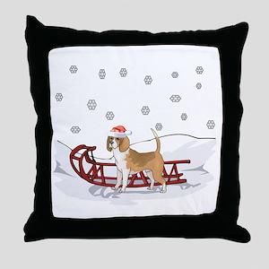 Sledding Beagle Throw Pillow
