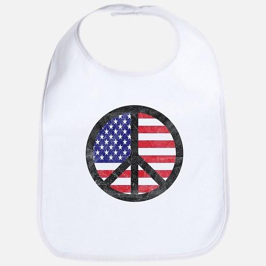 Peace Sign American Flag Bib