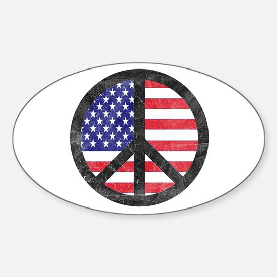 Peace Sign American Flag Oval Decal