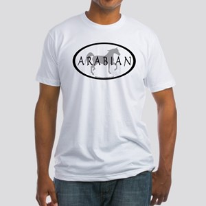 Arabian Horse Text & Oval (grey) Fitted T-Shirt
