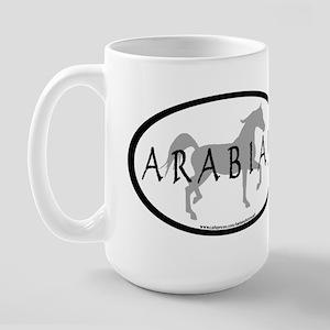 Arabian Horse Text & Oval (grey) Large Mug