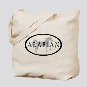 Arabian Horse Text & Oval (grey) Tote Bag