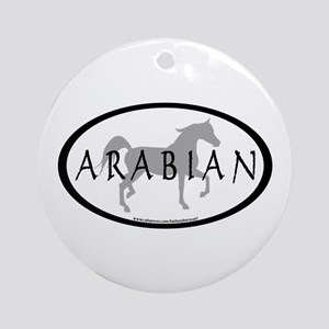 Arabian Horse Text & Oval (grey) Ornament (Round)