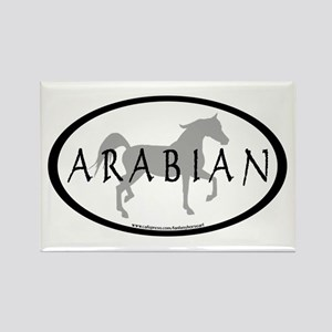 Arabian Horse Text & Oval (grey) Rectangle Magnet