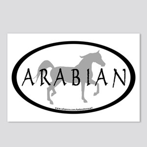 Arabian Horse Text & Oval (grey) Postcards (Packag