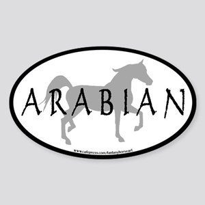 Arabian Horse Text & Oval (grey) Oval Sticker