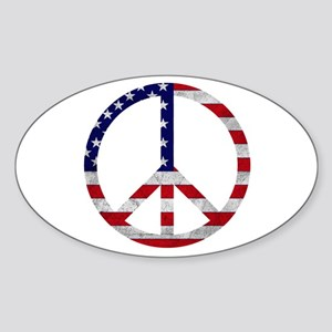 American Flag Peace Sign Oval Sticker