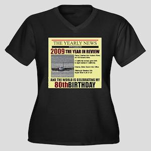 80 birthday Women's Plus Size V-Neck Dark T-Shirt