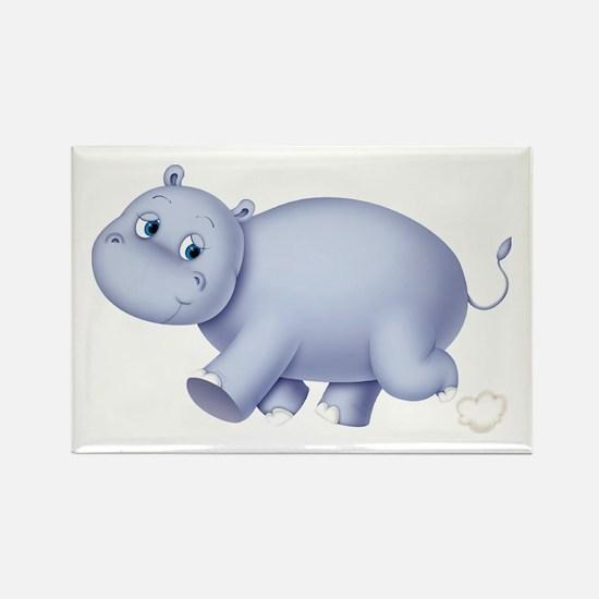 Indigo Hippo Rectangle Magnet