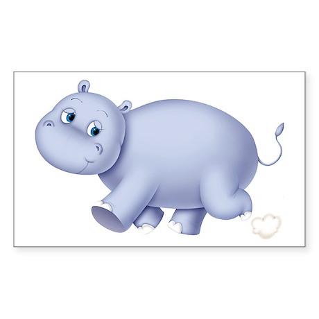 Indigo Hippo Rectangle Sticker