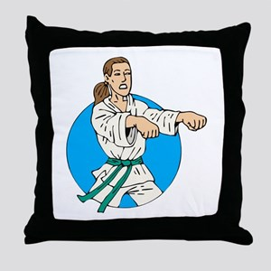 Green Belt Girl Throw Pillow