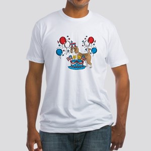 4th of July Beagle Fitted T-Shirt