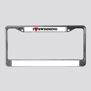 I Love Swimming License Plate Frame