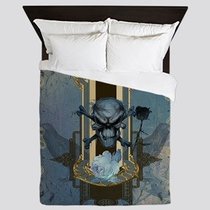 Awesome skull with crow in blue colors Queen Duvet