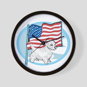 Patriotic Westie Wall Clock