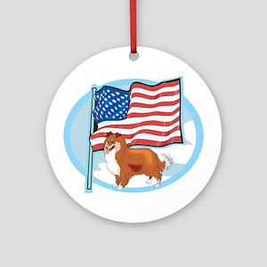 Patriotic Sheltie Ornament (Round)