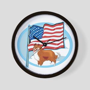 Patriotic Sheltie Wall Clock