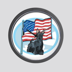 Patriotic Scottie Wall Clock