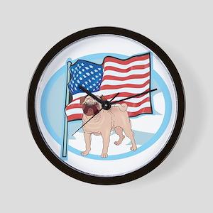 Patriotic Pug Wall Clock