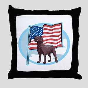 Patriotic Chocolate Lab Throw Pillow