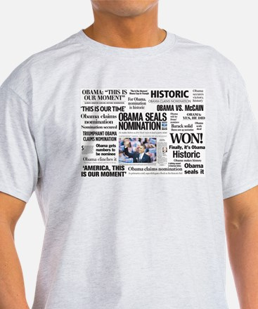 Obama Makes History Headline T-Shirt