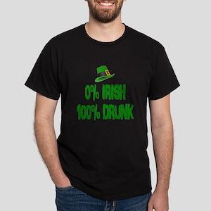0% Irish 100% Drunk Dark T-Shirt