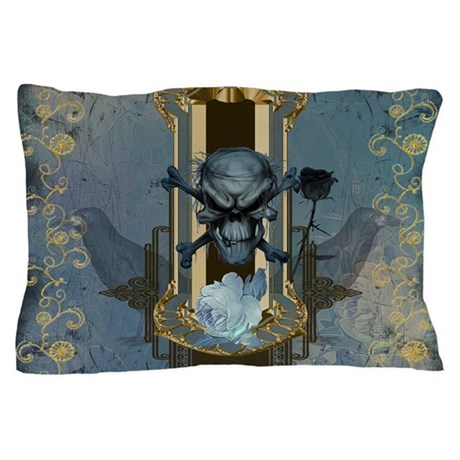 awesome skull with crow in blue colors pillow case by fantasyworld12. Black Bedroom Furniture Sets. Home Design Ideas