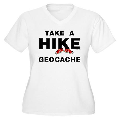Geocache Hike Women's Plus Size V-Neck T-Shirt