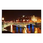 Nighttime on Bridge. Rectangle Sticker