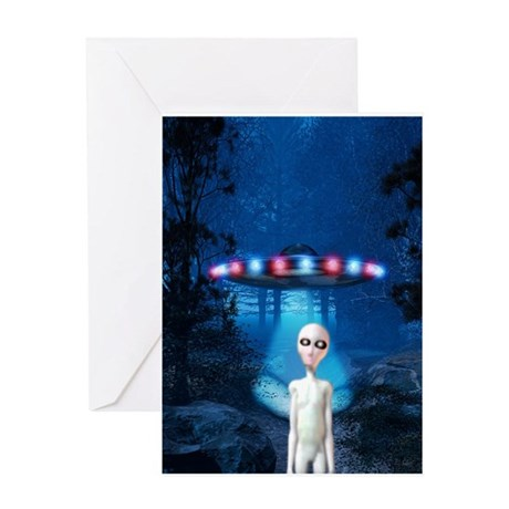 Forest Night UFO Visitation Greeting Card