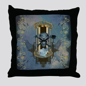 Awesome skull with crow in blue colors Throw Pillo