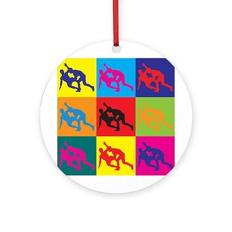 Wrestling Pop Art Ornament (Round)