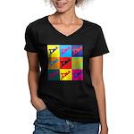 Woodworking Pop Art Women's V-Neck Dark T-Shirt