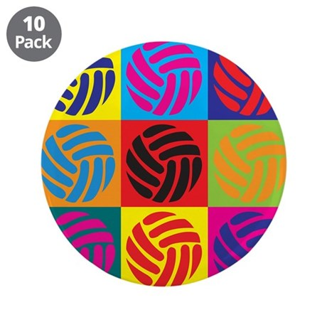"Volleyball Pop Art 3.5"" Button (10 pack)"