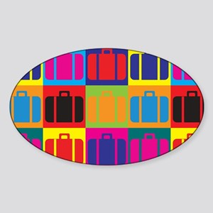 Travel Pop Art Oval Sticker