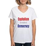 Capitalism the engine of Democracy Women's V-Neck