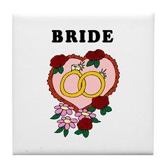 Bride Wedding Rings Tile Coaster