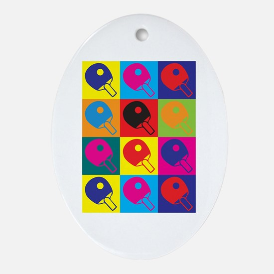 Table Tennis Pop Art Oval Ornament