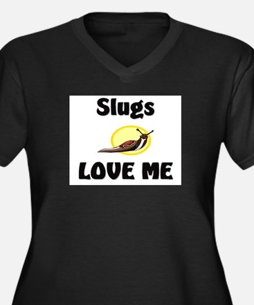 Slugs Love Me Women's Plus Size V-Neck Dark T-Shir