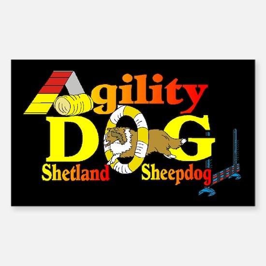 Sheltie Agility Rectangle Sticker 10 pk)