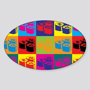 Sushi Pop Art Oval Sticker