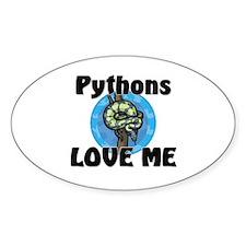 Pythons Love Me Oval Sticker