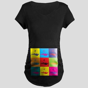Skydiving Pop Art Maternity Dark T-Shirt