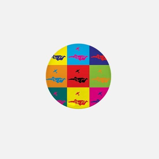 Skydiving Pop Art Mini Button