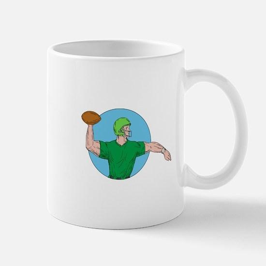 Quarterback QB Throwing Ball Circle Drawing Mugs