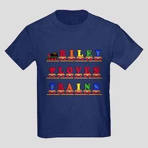 Riley Loves Trains Kids Dark T-Shirt