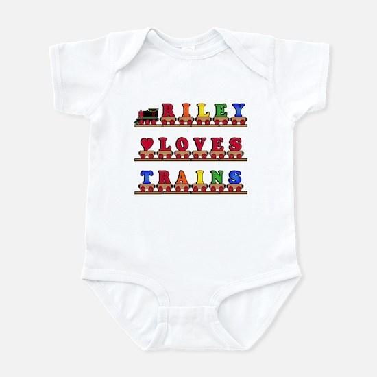 Riley Loves Trains Infant Bodysuit
