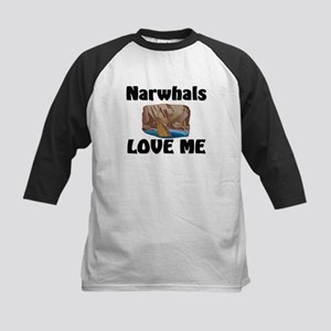 Narwhals Love Me Kids Baseball Jersey