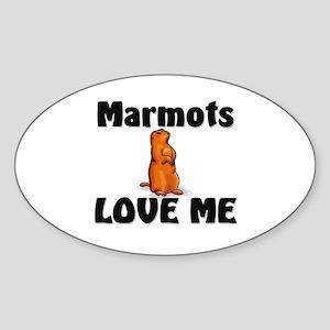 Marmots Love Me Oval Sticker